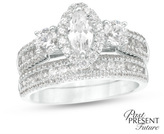 1-1/2 CT. T.W. Marquise Diamond Past Present Future® Bridal Set in 14K White Gold