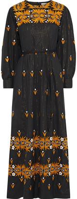 Antik Batik Mexi Pleated Metallic Embroidered Cotton Maxi Dress