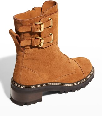 See by Chloe Mallory Suede Buckle-Cuff Moto Combat Booties