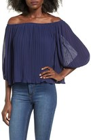 Lush Women's Pleated Off The Shoulder Top