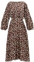Saloni Daybreak-print Belted Silk-satin Dress - Womens - Black Multi