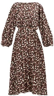 Saloni Daybreak Print Belted Silk Satin Dress - Womens - Black Multi