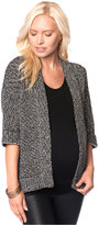 A Pea in the Pod Maternity Short-Sleeve Houndstooth Open-Front Cardigan
