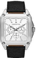 Claiborne Mens Retro Square Silver-Tone Chronograph Watch