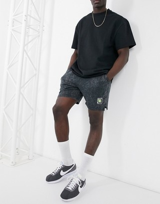 Nike Tennis Heritage Re-Issue acid wash shorts in black