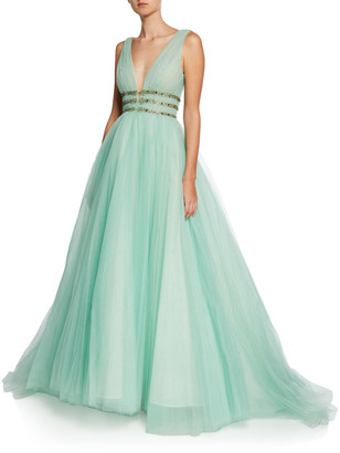 Monique Lhuillier Deep-V Sleeveless Pleated Tulle Gown