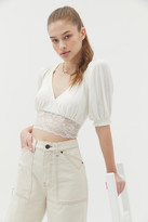 Urban Outfitters Samara Plunging Surplice Cropped Top