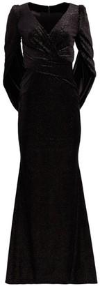 Talbot Runhof Metallic Eternity-Sleeve Gown
