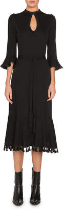 Andrew Gn Flare-Sleeve Keyhole Jersey Dress with Fringe