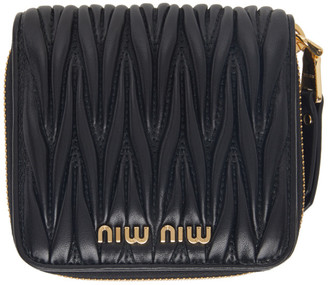 Miu Miu Black Small Matelasse Wallet