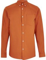 River Island Mens Orange casual Oxford shirt