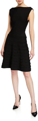 Emporio Armani Ribbon Ponte Knit Sleeveless Dress