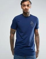 Luke 1977 Bowen Longline T-shirt Slim Fit Reflective Large Logo In Petrol Marl