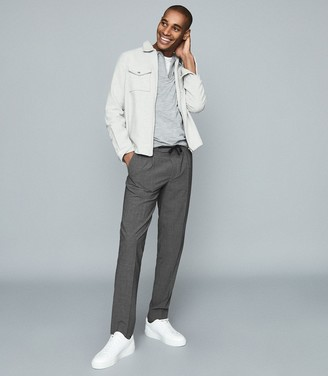 Reiss Baton - Pleat Front Slim Fit Trousers in Grey