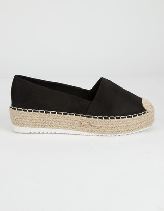 Wild Diva Espadrille Platform Black Womens Slip On Shoes
