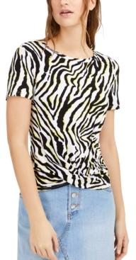 Bar III Zebra-Print Twist-Hem Top, Created for Macy's