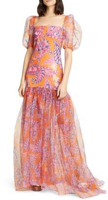 STAUD Wilde Sequin Butterfly Paisley Print Maxi Dress
