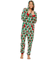 Asstd National Brand Onesie Fleece One Piece Pajama Santa Print- Women's