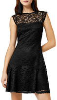 Warehouse Lace Sweetheart Dress, Black