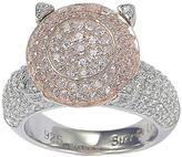 Suzy Levian Pink and White CZ Rose-Plated 2-Tone Sterling Silver Cluster Fashion Ring
