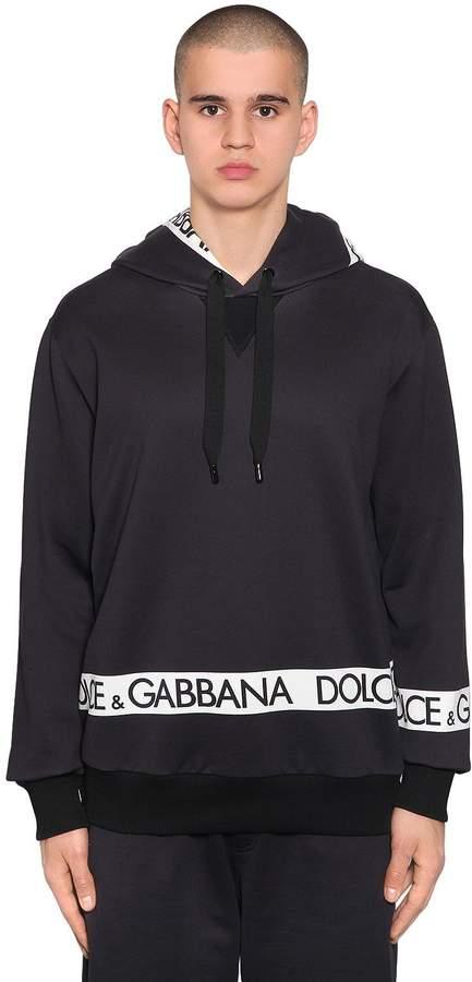 Dolce & Gabbana Hooded Logo Tape Print Cotton Sweatshirt