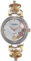 Akribos XXIV Women's AK874TRI Round White Mother of Pearl Dial Three Hand Quartz Strap Watch