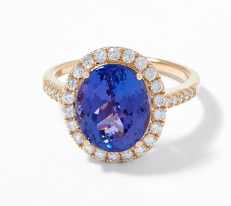 Oval-Cut Tanzanite & Diamond Ring, 5.00 cttw, 14K Gold