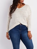 Charlotte Russe Plus Size Speckled V-Neck Sweater