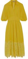 Lela Rose Corded Lace-Paneled Crepe Dress