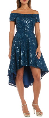 Morgan & Co. Sequin & Lace Off the Shoulder High/Low Dress
