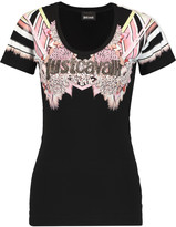 Just Cavalli Studded printed stretch-jersey T-shirt