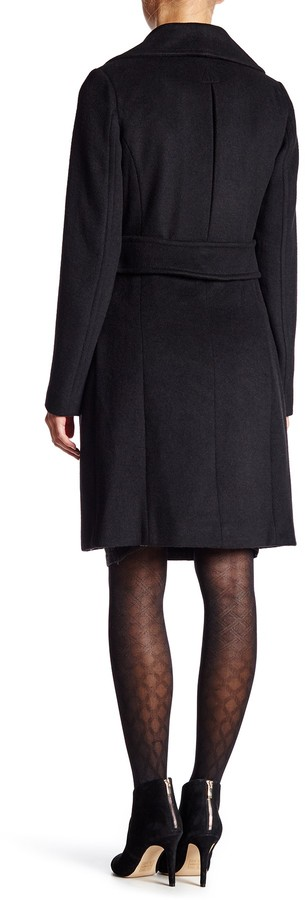 Eliza J Wool Coat with Faux Fur Collar