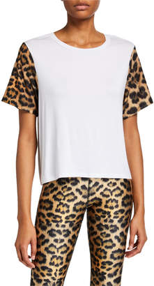 Terez Crewneck Leopard-Printed Sleeve Tee
