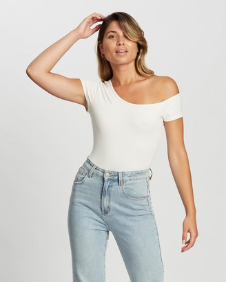 Atmos & Here Atmos&Here - Women's White Off The Shoulder Tops - Mila Off-Shoulder Bodysuit - Size 6 at The Iconic