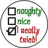 """Santa's List - Naughty / Nice / check for I REALLY TRIED! 1.25"""" Magnet - Christmas Humor"""