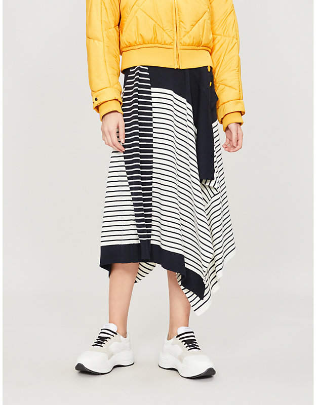 J.W.Anderson Marinière asymmetric wool-blend midi skirt