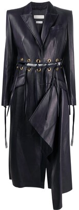 Alexander McQueen Lace-Up Leather Coat