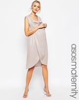 Asos Drape Pencil Dress In Foil