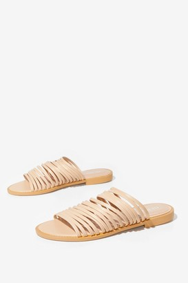 Nasty Gal Womens Flat's How We Like It Strappy Faux Leather Sandals - Nude