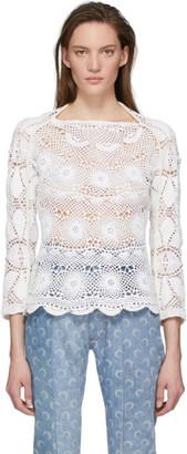 Marine Serre White Upcycled Crochet Sweater