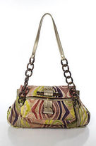 R & Y Augousti R&Y Augousti Multi-Color Leather Pony Hair Metallic Shoulder Handbag LL19LL