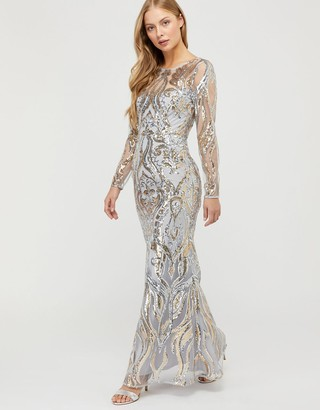 Monsoon Lily Sequin Fishtail Maxi Dress Silver