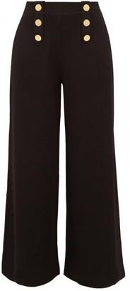 Stella McCartney Button-embellished Wide-leg Trousers - Womens - Black