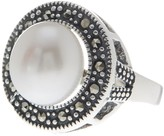 Savvy Cie 10mm Genuine Freshwater Pearl & Marcasite Ring
