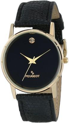 Peugeot Men's 2043BK Genuine Black Leather Strap Black Dial Watch