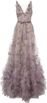Marchesa tulle embroidered floral gown