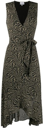 Ganni Tiger Print V-Neck Dress