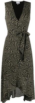 Ganni Tiger Print V-Neck Dress
