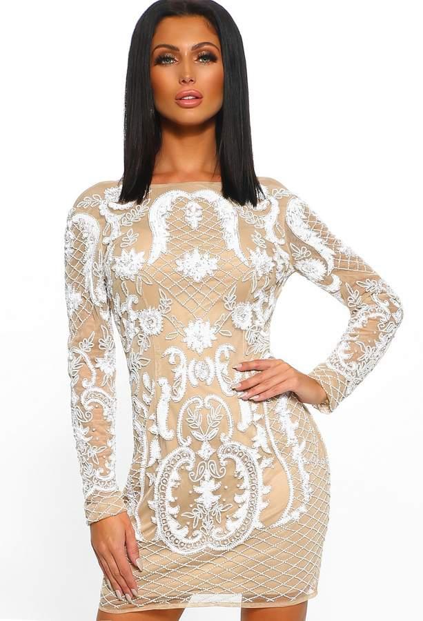 84c4c4a40dd1 Nude Embellished Long Sleeve Dress - ShopStyle UK
