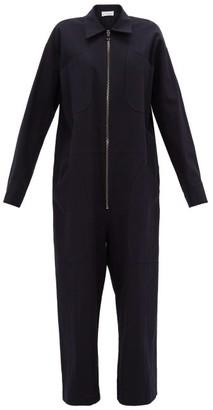 Raey Oversized Drawstring-waist Cotton-blend Jumpsuit - Womens - Navy